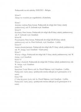 Religia- lista podręczników