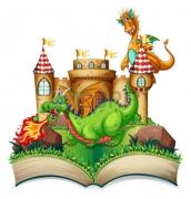35368599-ilustracja-z-książki-podręcznego-ze-smokiem-i-zamek